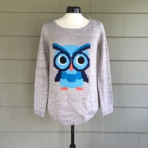 NWT Rewind Gray Sweater with Blue Owl Size M